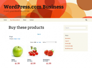 WordPress.com now has e-commerce functionality, like this storefront.