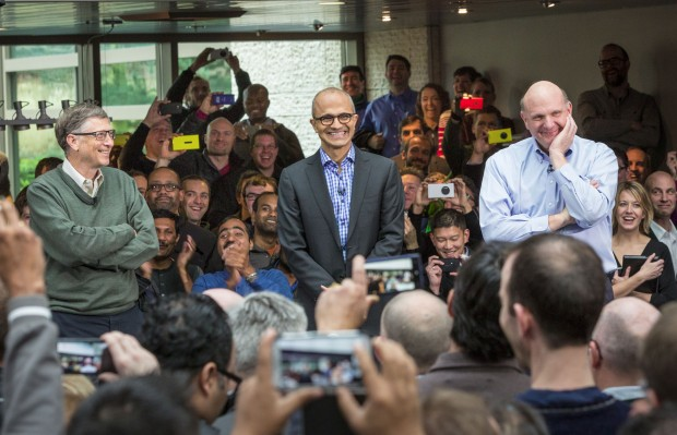 Bill Gates, Satya Nadella and Steve Ballmer at Microsoft earlier this year.