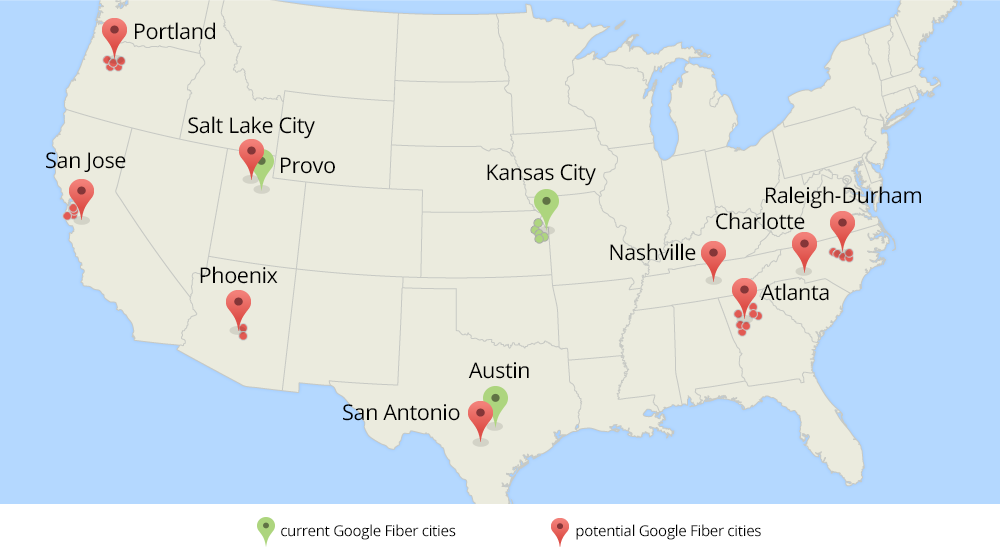 Google is looking to install its fiber Internet service in several other U.S. metro areas.