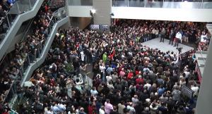 Bill Gates and Steve Ballmer join Microsoft CEO Satya Nadella on stage at a company rally Tuesday.