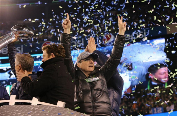 Paul Allen celebrates Seattle's first-ever Super Bowl championship this past Sunday.