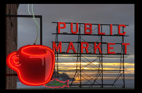 Pike Place Market sign. Photo via Runner310
