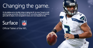 Russell Wilson is displayed prominently on Microsoft's Surface NFL page.