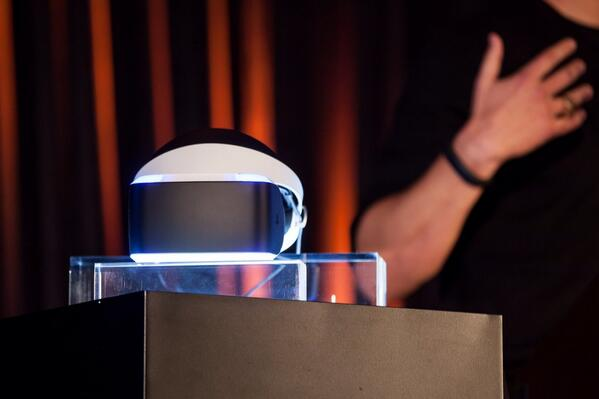The Project Morpheus prototype sitting on a pedestal
