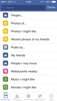 A screenshot of Graph Search on Facebook's iPhone app