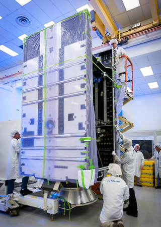 The structure of Boeing's 702SP all-electric satellite. (Boeing photo.)