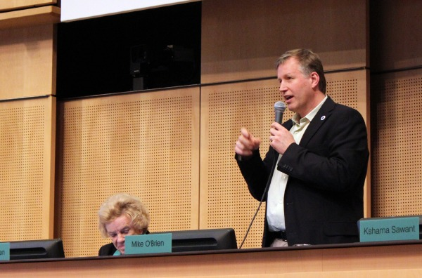 Councilmember Mike O'Brien speaks at Monday's City Council meeting.
