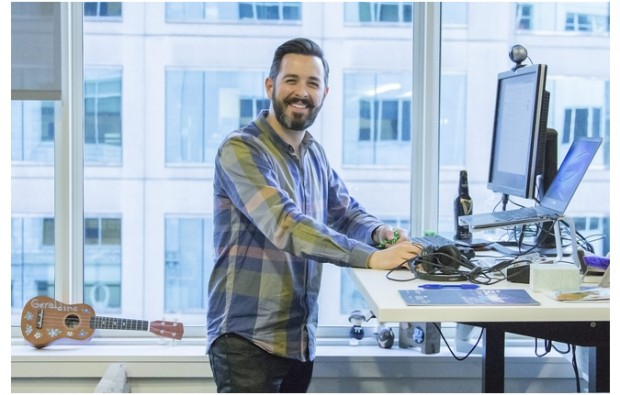 Rand Fishkin at his standing desk at the company's offices in Seattle.