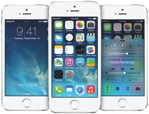 Three white iPhone 5S handsets displaying iOS 7
