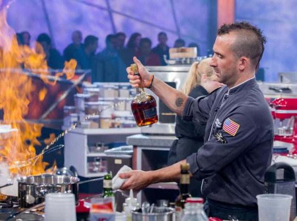 A scene from Iron Chef. Photo via Food Network.