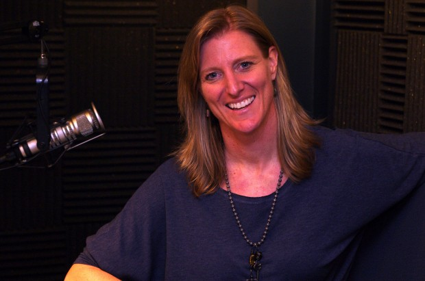 Koru CEO Kristen Hamilton in the KIRO studios.
