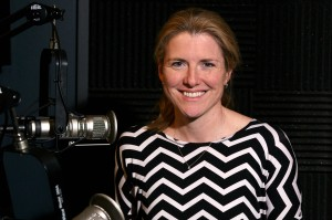 Margaret O'Mara, associate professor of history at the University of Washington, in the KIRO Radio studios. (Erynn Rose Photo).