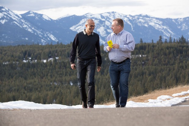 Microsoft CEO Satya Nadella and former Nokia CEO Stephen Elop, who is returning to Microsoft with the acquisition. (Microsoft Photo)