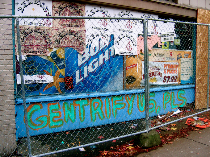 Graffiti on former Capitol HIll businesses shortly before demolition. Photo via e.Res