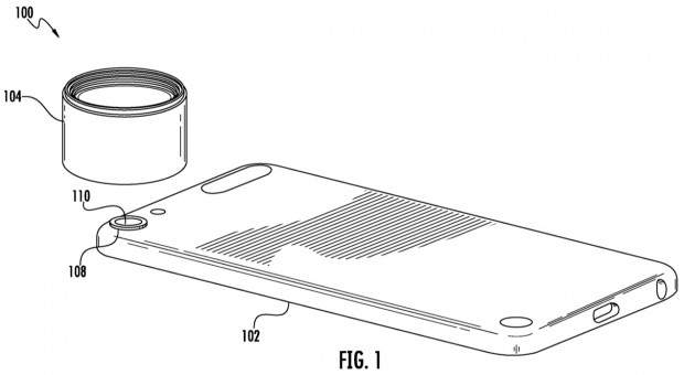 A diagram showing an external lens being fitted to a smartphone.