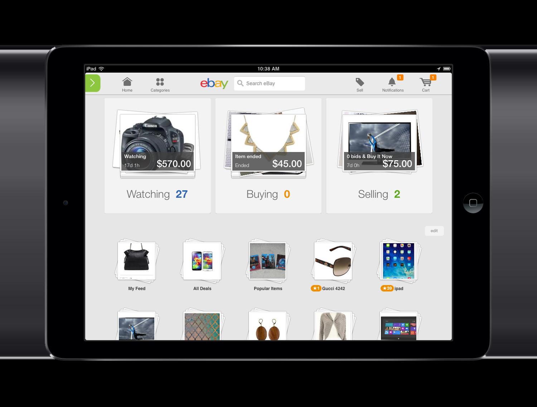 eBay's new iPad homescreen