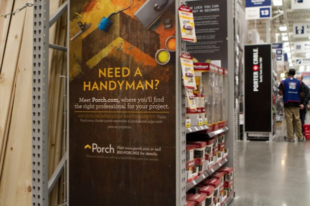 Porch is featured in Lowe's Home Improvement stores as part of a partnership with the retailer, which is also an investor in the Seattle startup.