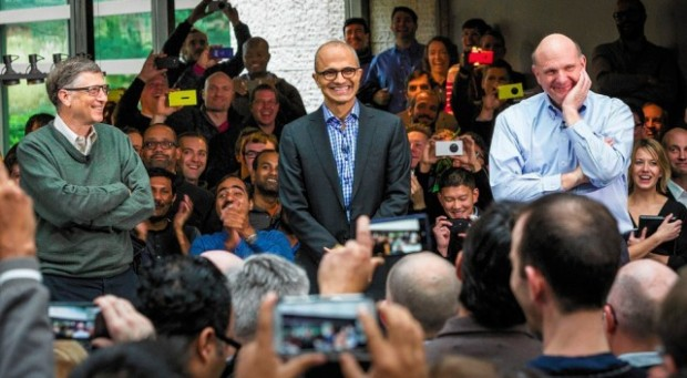 Bill Gates, Satya Nadella and Steve Ballmer. Photo via Microsoft.