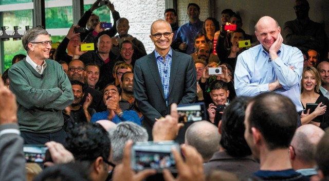 Bill Gates, Satya Nadella and Steve Ballmer.