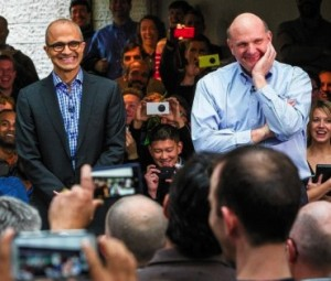 Steve Ballmer with current Microsoft CEO Satya Nadella.