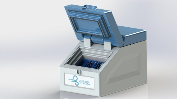 A prototype of Sure Chill's vaccine cooler