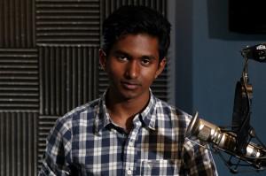 Suman Mulumudi in the KIRO Radio studios. (Erynn Rose photo)