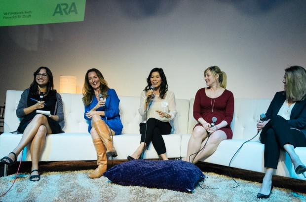 OfficeSpace.com CEO Susie Algard speaks to the crowd at ARA Seattle's inaugural event Tuesday alongside Zillow CMO Amy Bohutinsky, Popforms CEO Kate Matsudaira, former Microsoft marketing chief Tami Reller and moderator and GeekWire columnist Mónica Guzmán. (Photo: Brian Thom for Harvey Nash)