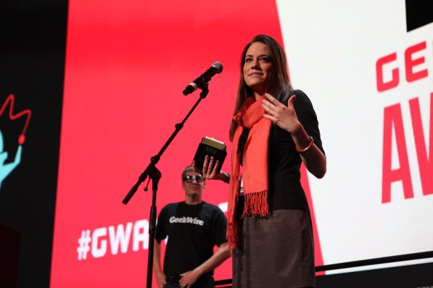 Julie Sandler accepts the award for Geek of the Year at the 2014 GeekWire Awards.