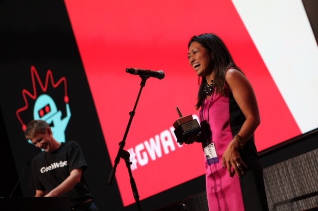 Jane Park was named CEO of the Year at the 2014 GeekWire Awards. Photo by Eric Tra.