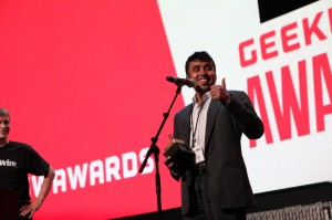 ExtraHop co-founder Raja Mukerji accepting the award for Innovation of the Year at the GeekWire Awards earlier this month.