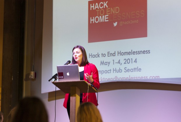 Hack to End Homelessness event organizer Candace Faber speaks at the Impact Hub. Photo courtesy of Michael Maine.