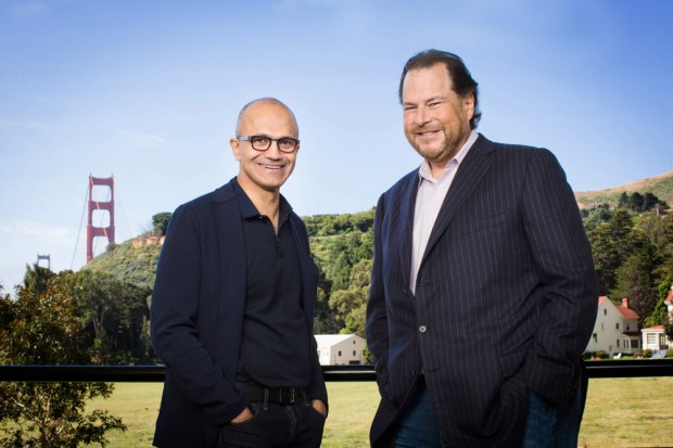 File Photo: Microsoft's Satya Nadella and Salesforce's Marc Benioff an.