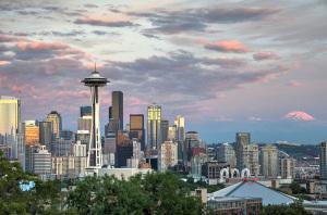 Seattle skyline and Rainier at sunset