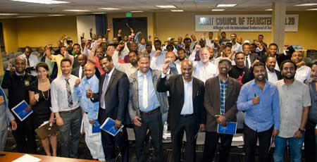 "Frustrated Uber drivers formed an association earlier this month to ""protect dignity."" Photo via Teamsters."