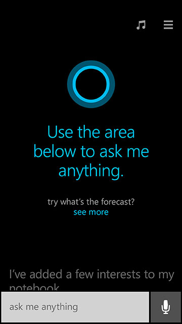 Cortana's Windows Phone interface