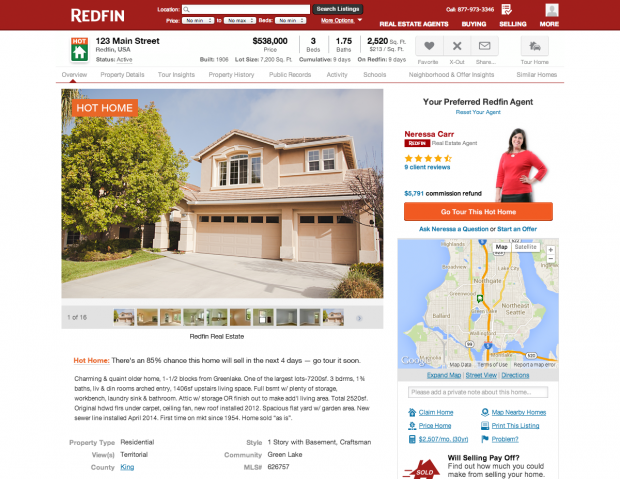 "Redfin has started listing select properties as ""Hot Homes."""
