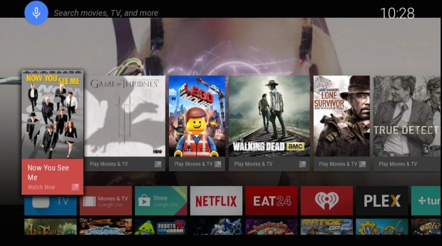The Android TV user interface