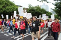 Protesters voice their disdain for Common Core standards and Bill Gates' involvement in U.S. education reform last week.