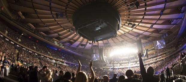 They're cheering for something, but it's not Microsoft buying Madison Square Garden.