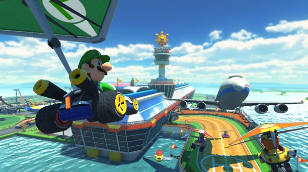 Mario Kart 8 - Luigi demonstrates his mid-air death stare