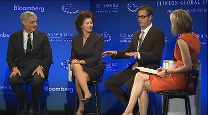 Rich Barton, second from right, makes a point at the Clinton Global Initiative meeting in Denver.
