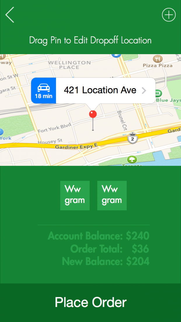 An early mock-up of Canary's weed delivery app from 2014.