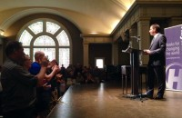 A sold-out crowd greets Glenn Greenwald at Town Hall Seattle Tuesday night. (Photo: Monica Guzman)