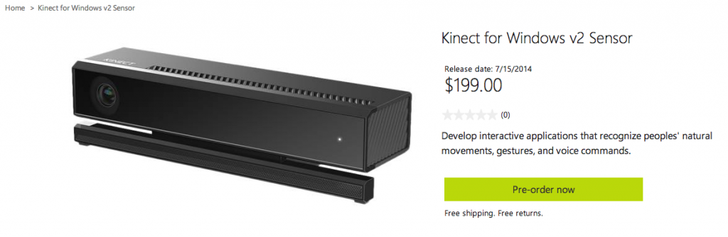 Microsoft to sell new Kinect for Windows at $199, ships July 15