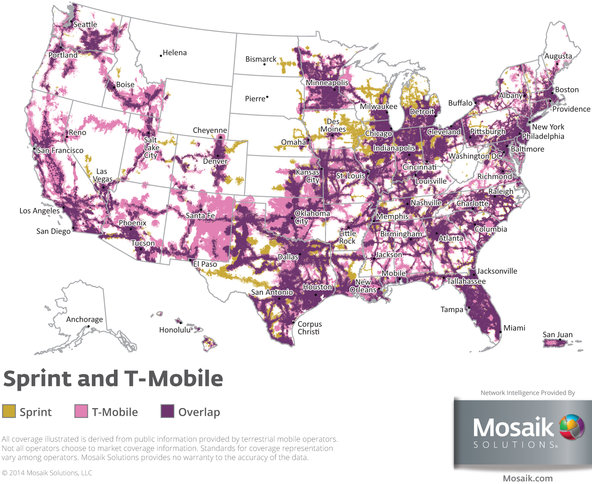 Sprint and T-Mobile coverage areas