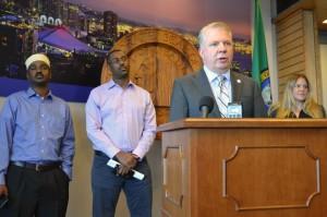 Mayor Ed Murray announces the new TNC agreement on June 16.