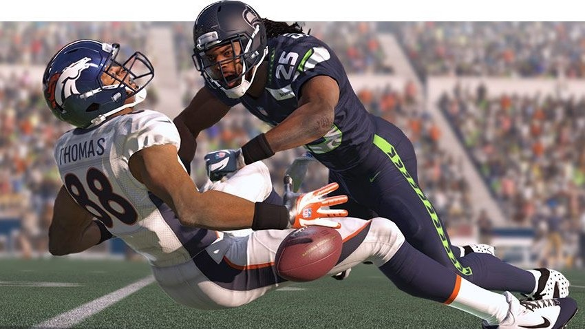 Richard Sherman destroying a receiver in Madden NFL 15, just like he does in real life.