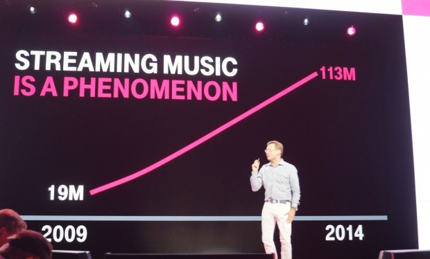 Michael Sievert, T-Mobile's marketing chief, explains the reasons for the new music initiatives with a chart.