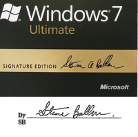 Ballmer's signature on the Windows 7 Signature Edition box, above, and the purported contract, below.
