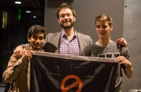 Megh Vakharia and Josiah Tullis, co-founders of Canary, pose with Reddit co-founder Alexis Ohanian. Photo via Canary.